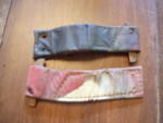 Original leather straps. Off to cobbler to be restitched & polished black.