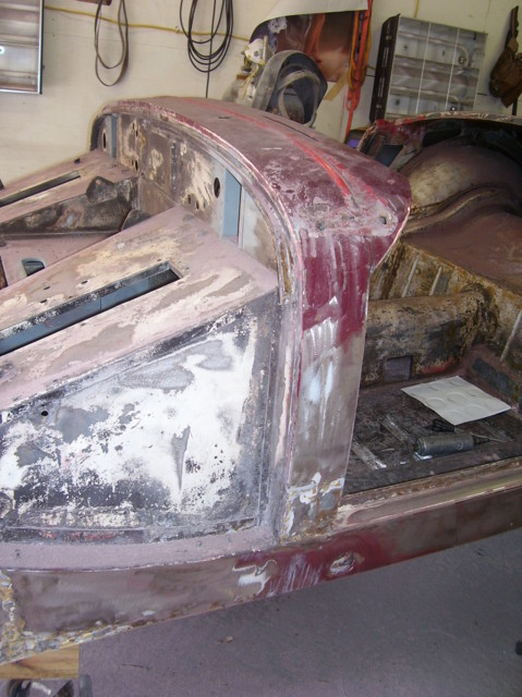 Old English White.  Red. Maroon. Now metal. Very little rust.  Who knew?   New Ashley Hinton driver's floor panel & stiffener visible from round 1 welding.