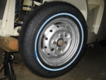 Dunlop SP40, 155 80 13s. Wheels stripped and painted.